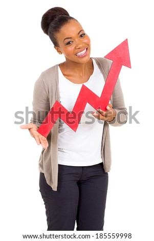 attractive black woman with red growth arrow isolated on white - stock photo