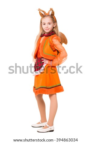 Attractive blond girl in a squirrel suite. Isolated on white - stock photo