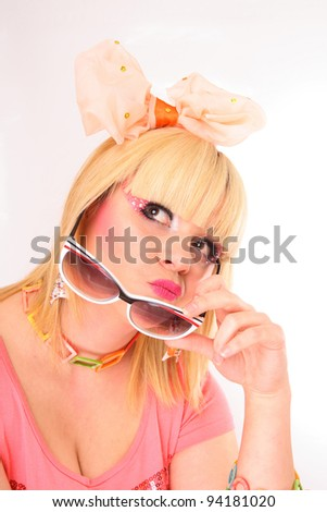 attractive blond girl with sunglasses
