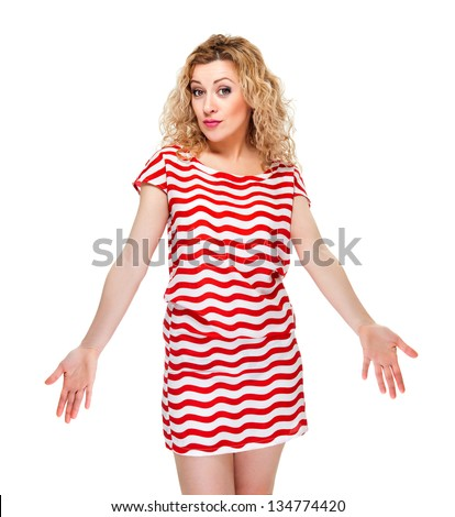Attractive blond hair woman on white background - stock photo