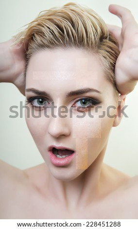 Attractive blond model. Concept skincare - skin before and after the procedure. Facial expression.  - stock photo