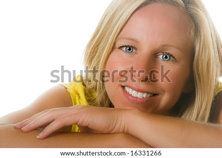 Attractive blond woman in studio poses.  Portion of photographers commission of this image will be donated to Autism Ontario.
