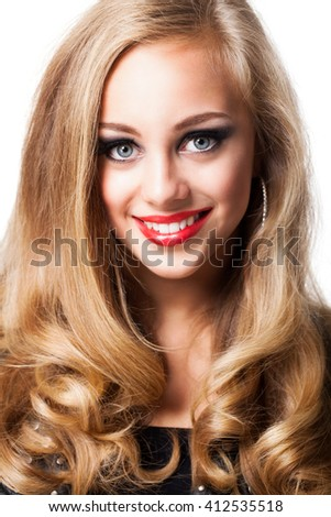 attractive blond woman with glamorous look - stock photo
