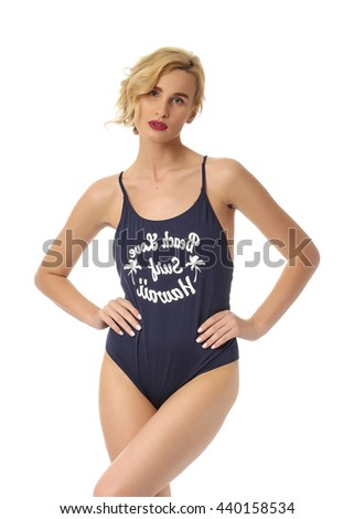 Attractive blonde girl in swimsuit isolated on white - stock photo