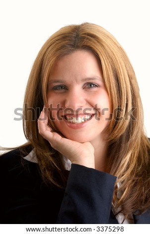 Attractive Blonde Happy Young Businesswoman, Isolated Over A White Background