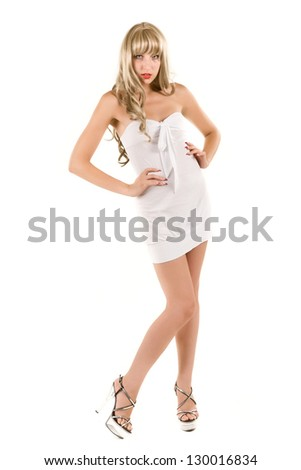 attractive blonde in a white dress