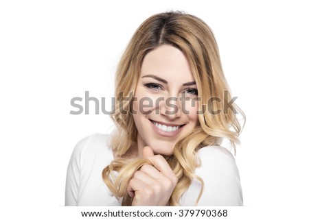 Attractive blonde smiling woman portrait isolated on white background. - stock photo