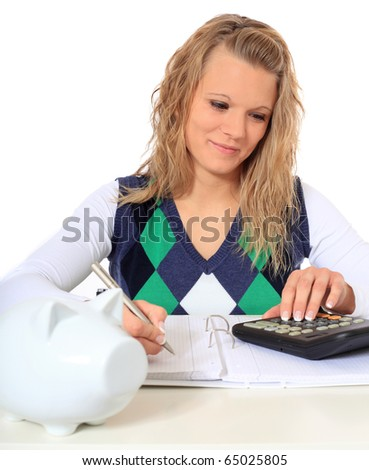 Attractive blonde woman crunching numbers. All on white background - stock photo