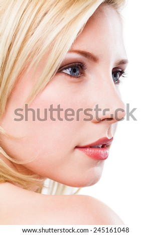 attractive blonde woman on isolated background
