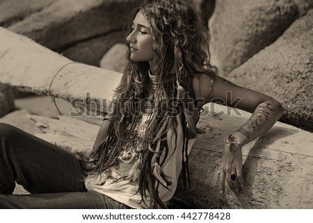 Attractive boho summer girl outdoors