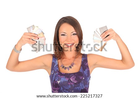 Attractive brown girl with credit card in hand studio