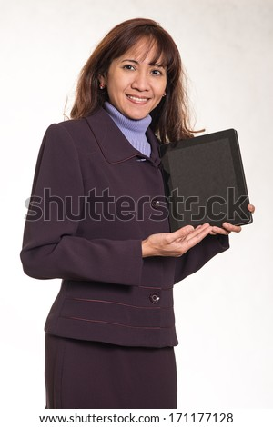 Attractive brunette asian business career woman - stock photo
