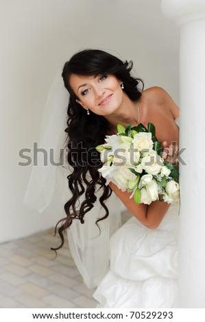 attractive brunette bride close up - stock photo
