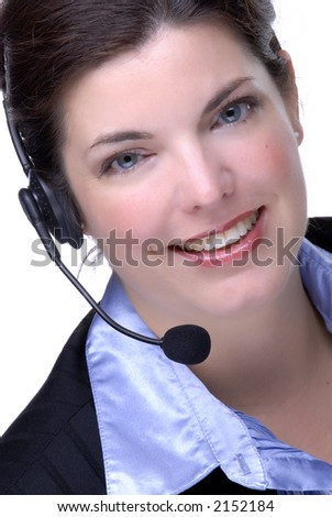 Attractive Brunette Customer Service Representative, Wearing A Telephone Headset