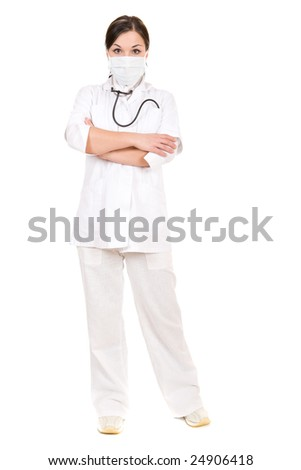 attractive brunette doctor over white background