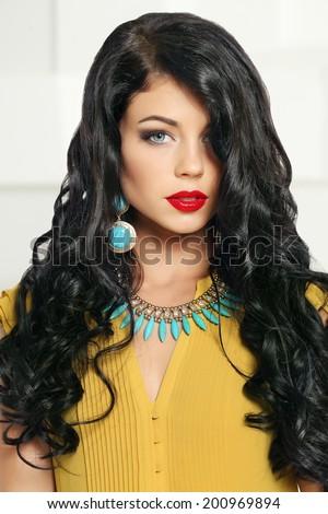 Attractive brunette girl, fashion portrait - stock photo