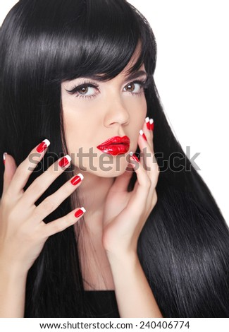 Attractive brunette girl model with long healthy hair styling, makeup and manicured nails isolated on white background - stock photo