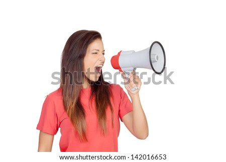 Attractive brunette girl shouting with a megaphone isolated on a over white background