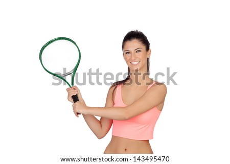 Attractive brunette playing tennis isolated on a white background - stock photo