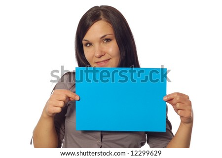 attractive brunette woman holding banner on white background