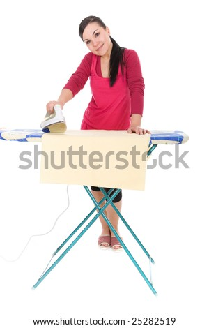 attractive brunette woman ironing. over white background - stock photo