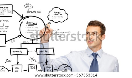 attractive buisnessman or teacher with marker
