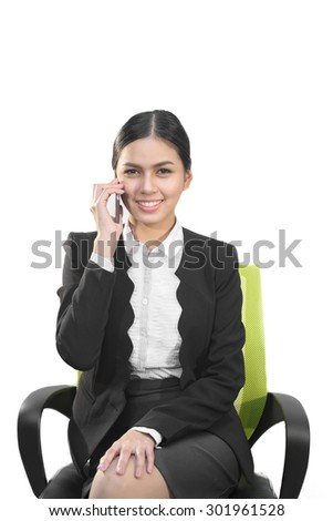 Attractive business asian woman  use smart phone - stock photo