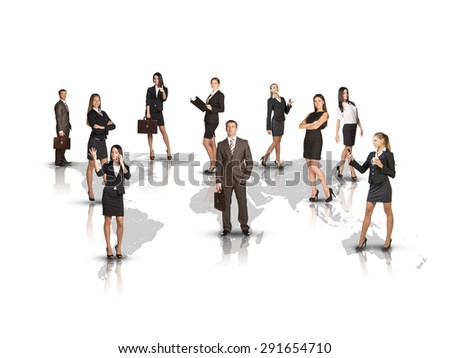Attractive business people standing on world map