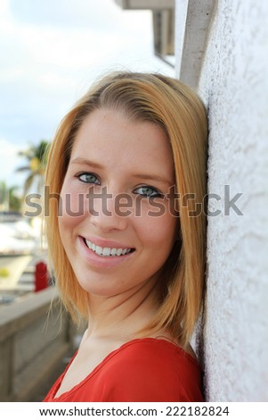 Attractive Business Professional Business Woman College Student Young Teenager Smiling and Happy - stock photo