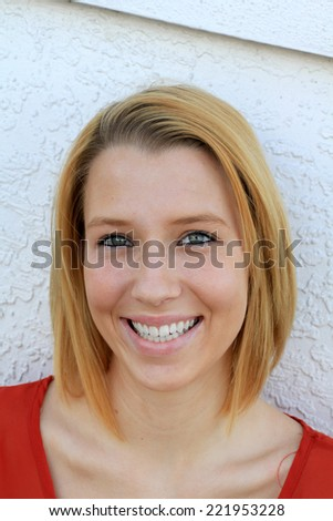 Attractive Business Professional Business Woman Teenager College Student Smiling Blonde  - stock photo
