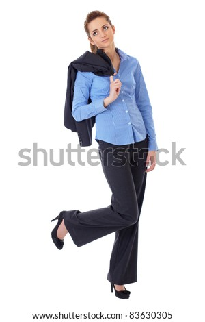 Attractive business woman full body shoot over white background - stock photo