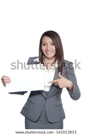Attractive business woman hold empty blank board, portrait isolated on white background.