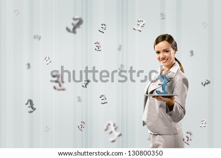 attractive business woman holding a tablet with british pound, financial concept - stock photo