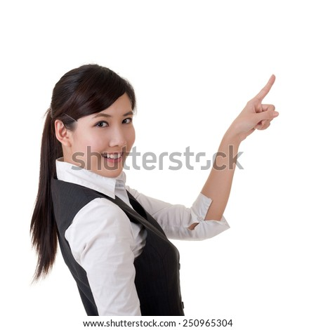 Attractive business woman introduce with hand, closeup portrait.