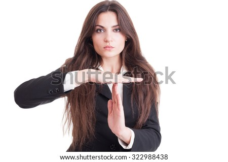 Attractive business woman or teacher with long beautiful hair showing time out gesture isolated on white background - stock photo
