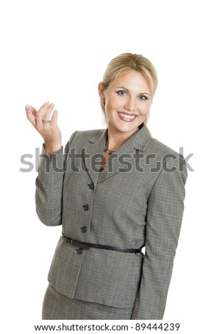 Attractive business woman portrait isolated on white - stock photo