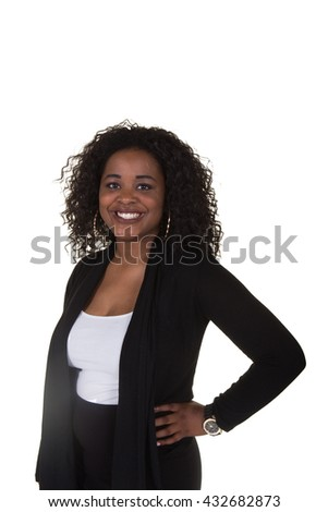 Attractive business woman smiling against a white background