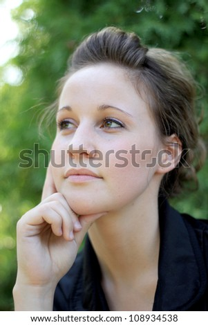 Attractive Business Woman Thinking - stock photo