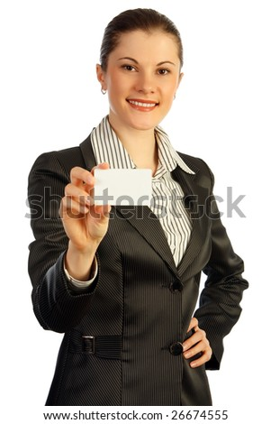 Attractive business woman with a business card. Isolated on white.