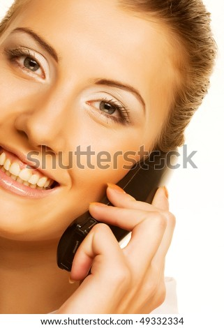 attractive business woman with a phone