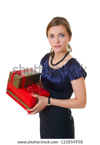 Attractive business woman with gift boxes, isolated on white