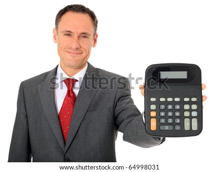 Attractive businessman holding calculator. All on white background. - stock photo