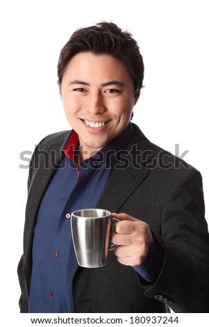 Attractive businessman on a coffee break. Wearing a suit and blue shirt. White background.