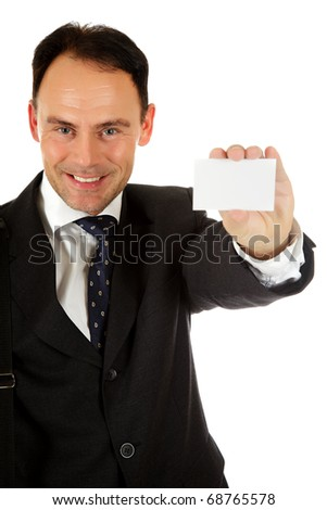 Attractive businessman showing a blank, white business card. Studio shot. White background. - stock photo