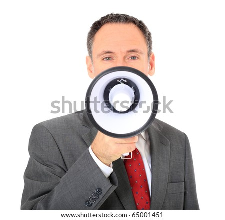 Attractive businessman using megaphone. All on white background. - stock photo