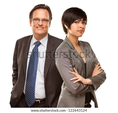 Attractive Businesswoman and Businessman Isolated on a White Background. - stock photo
