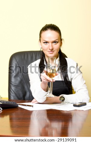 attractive businesswoman celebrating
