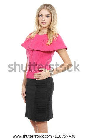 attractive businesswoman in red clothes against white background - stock photo