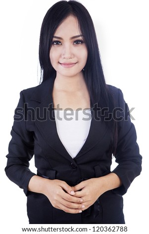 Attractive businesswoman isolated over white - stock photo