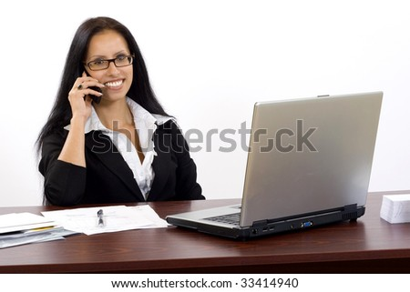 attractive businesswoman on the phone